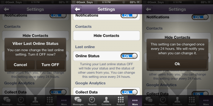 Viber Online Status Toggle Tweak