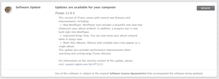 iTunes 11.0.3 Update Changelog