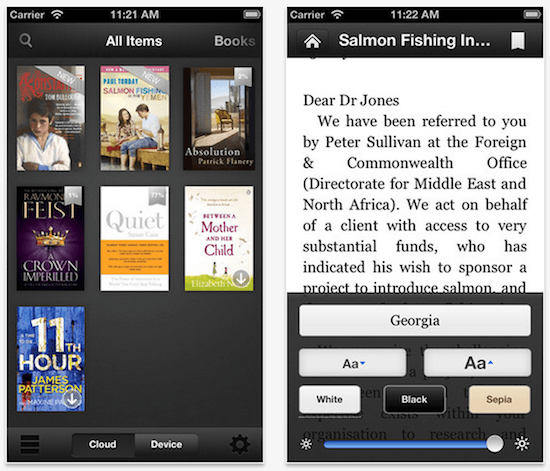 Kindle iOS App - Voice Over features