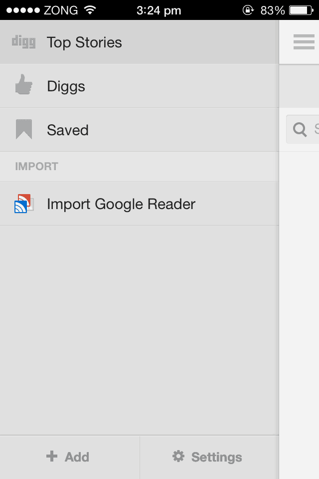 Digg Reader iPhone
