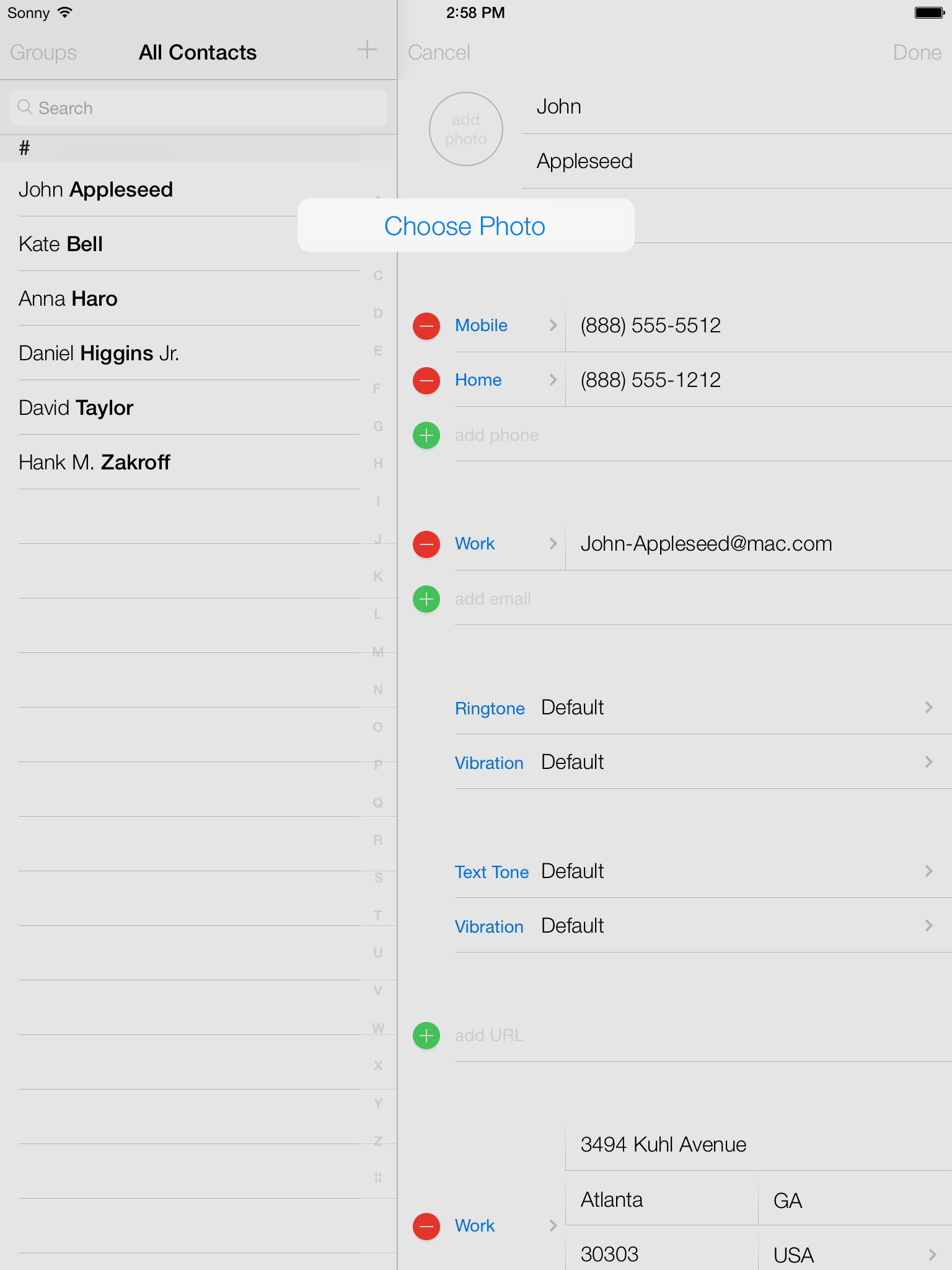how to add contacts to ios simulator
