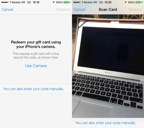 iOS Camera iTunes Card