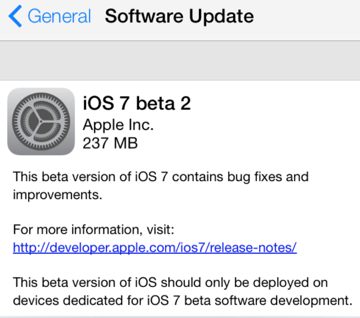 iOS 7 Beta 2 Download