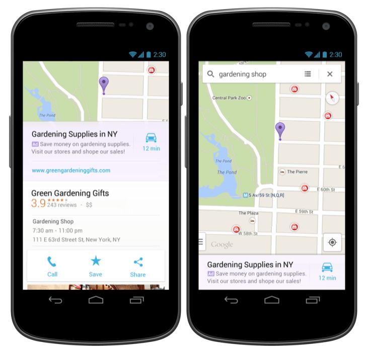 google maps relevant ads