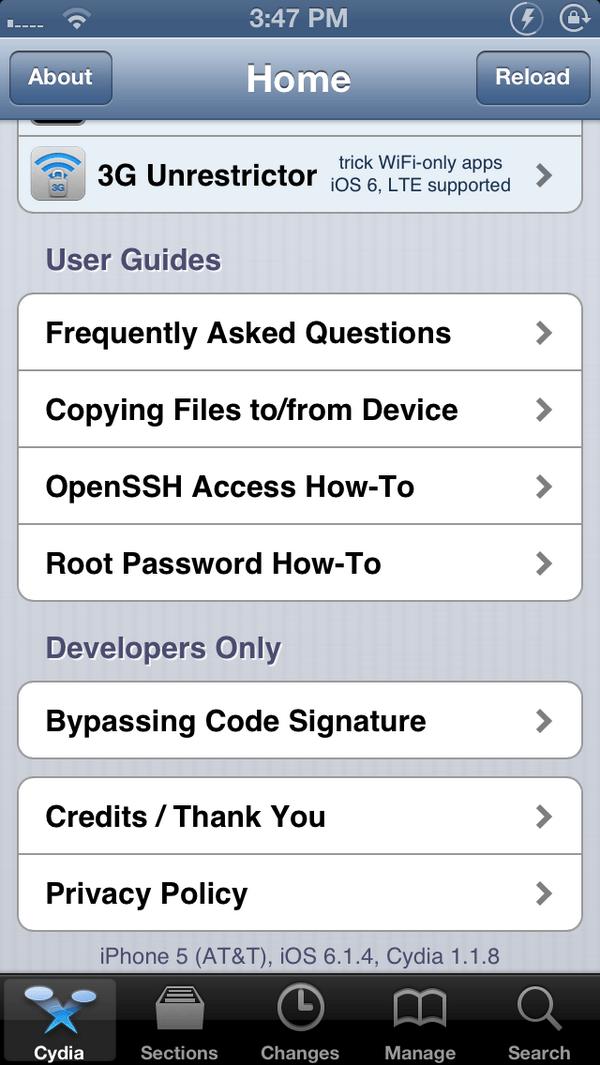 iOS 6.1.4 Untethered Jailbreak