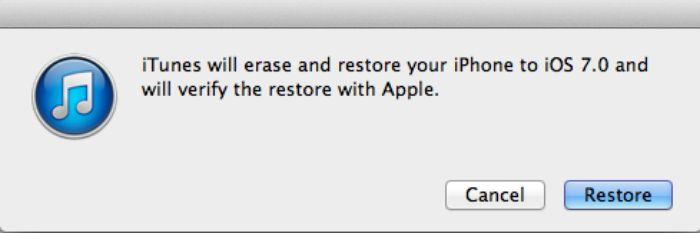 restore iOS 7 iPhone